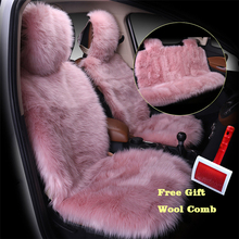 3pcs/set Pink Color Front and Back Car Seat Cover Furry Fluffy Thick Faux Plush Warm Pad Styling Universal