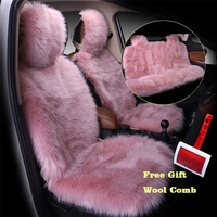 3pcs/set Pink Color Front and Back Car Seat Cover Furry Fluffy Thick Faux Plush Warm Seat Pad Car Styling Universal