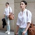 2016 versión Coreana de ocasionales flojos de la camisa de algodón blanco de manga larga todas correspondan mujeres novio blusa