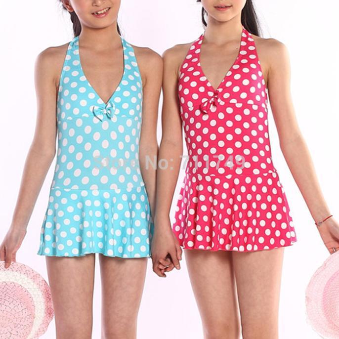 Children Girl Swimwear Cute Polka Dots One Piece Kids -2220