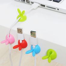 4pcs/set Rabbit Ears Cable Winder Collation Holder Bunny Charger Wire Cord Organizer Clip Tidy Desk Earphone Fixer Bobbin Clamp aiffcet cable drop clip desk tidy cable organizer wire cord usb charger cord holder organizer holder cable winder for phone