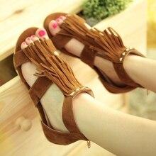 Tassel Flat Sandals With Studs