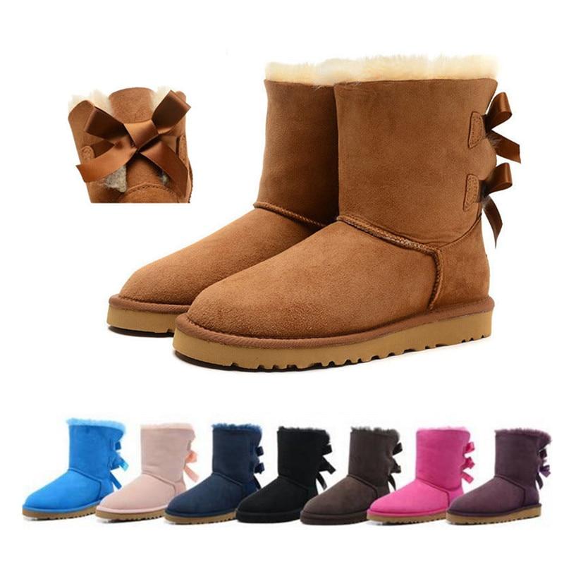 Australia Mujer nieve Botas de cuero genuino zapatos de invierno zapatos de la marca australiana de Botas de piel de oveja Mujer Botas mujeres Bottes