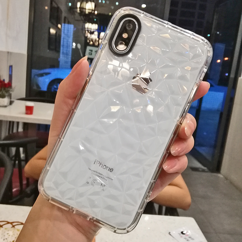 Luxury Geometric Diamond Transparent Soft Cover For iPhone 5 5S SE 6 6S 7 8 8 plus Rhombus Clear Case For iPhone X Water Feeling (13)