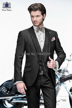 2016 Custom Made Groomsman One Button Charcoal Groom Tuxedos Best Man Suit Mens Wedding Suits Bridegroom (Jacket+Pants+Vest)