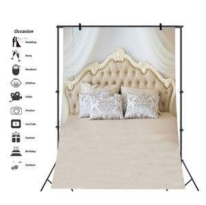 Image 3 - Laeacco Bedboard כריות ראש המיטה דמשק וילון משפחת יילוד צילום רקע צילום תפאורות צילום סטודיו
