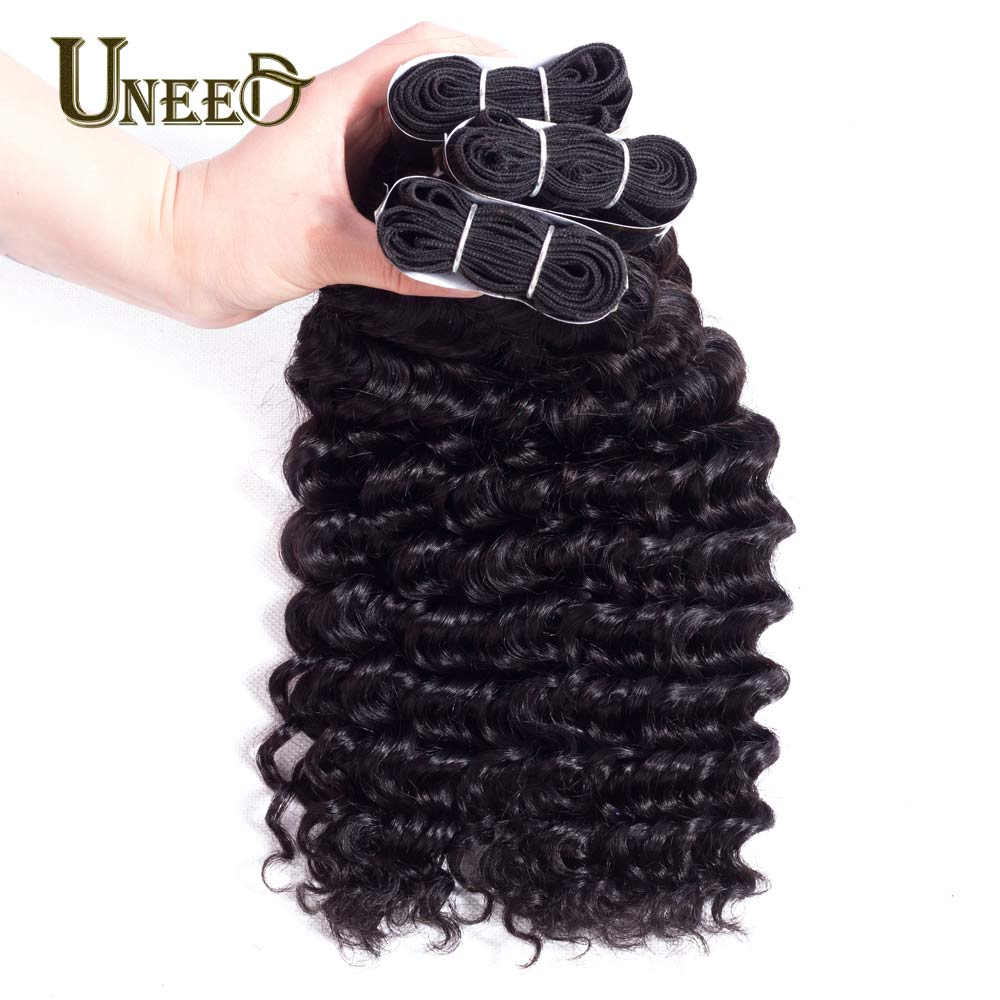 Uneed Hair Malaysian Hair Deep Wave Remy Human Hair Weave Bundles Can Buy 3 or 4 bundles With Closure Natural Color 10-28