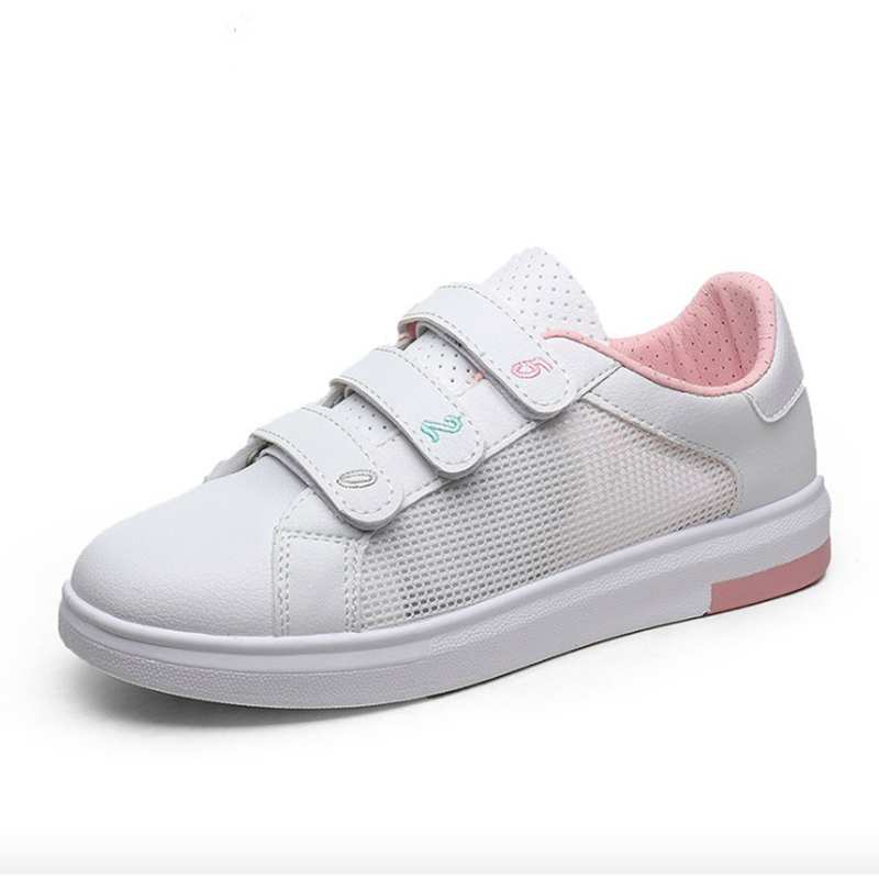 Women Sneakers 2018 Summer Women Casual Shoes Fashion Breathable Mesh+PU Leather Flats White Casual Women Shoes pinsen fashion women shoes summer breathable lace up casual shoes big size 35 42 light comfort light weight air mesh women flats