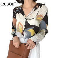 48ee5584b9a9 RUGOD Печатный v-образный Вырез Винтаж элегантные рубашки женский 2019  Весна Горячая Распродажа, вязаный