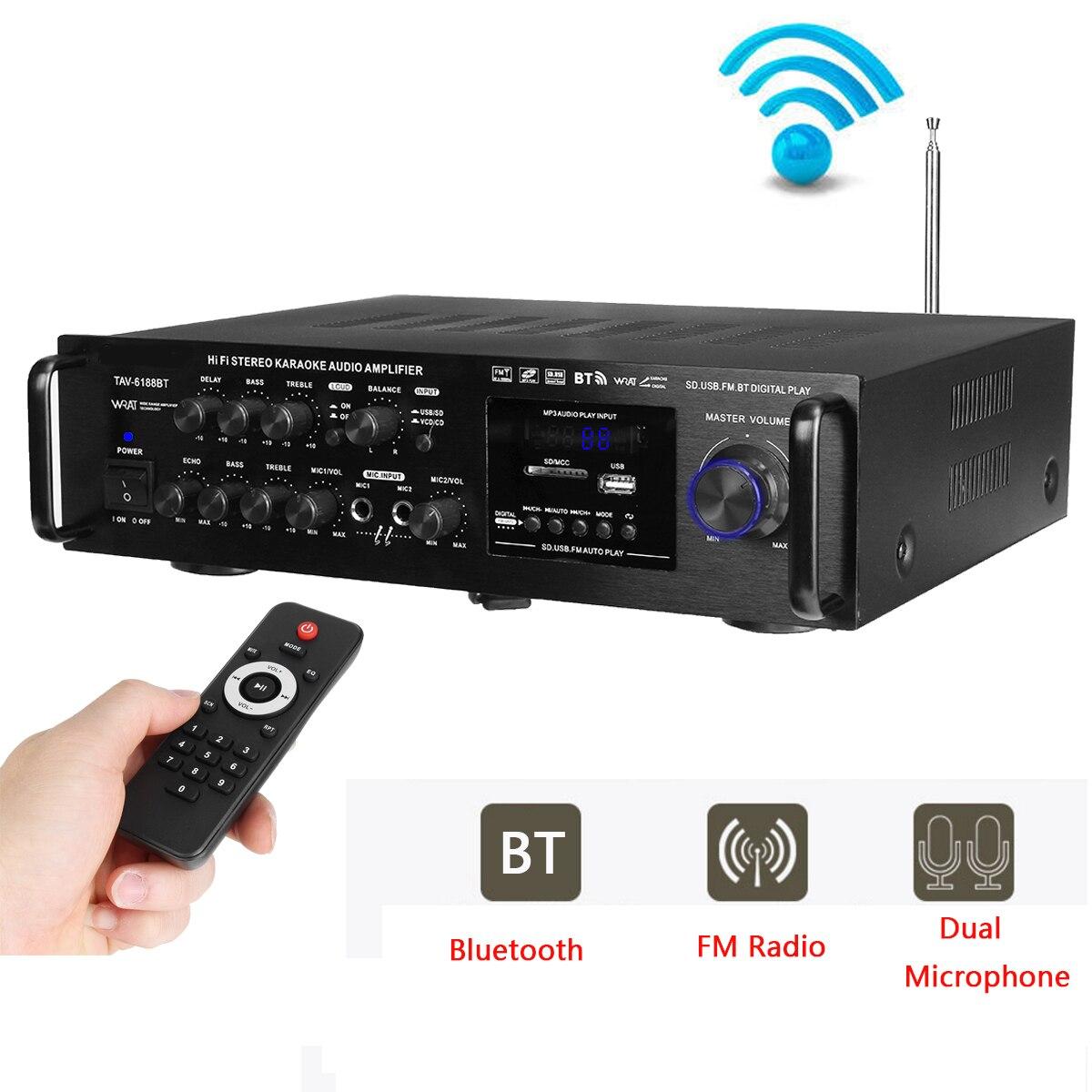 2000W Wireless Home Digital Music Audio Amplifier 4 ohm bluetooth 4.0 Version Stereo Karaoke Amplifier Support 2 MIC FM RC2000W Wireless Home Digital Music Audio Amplifier 4 ohm bluetooth 4.0 Version Stereo Karaoke Amplifier Support 2 MIC FM RC