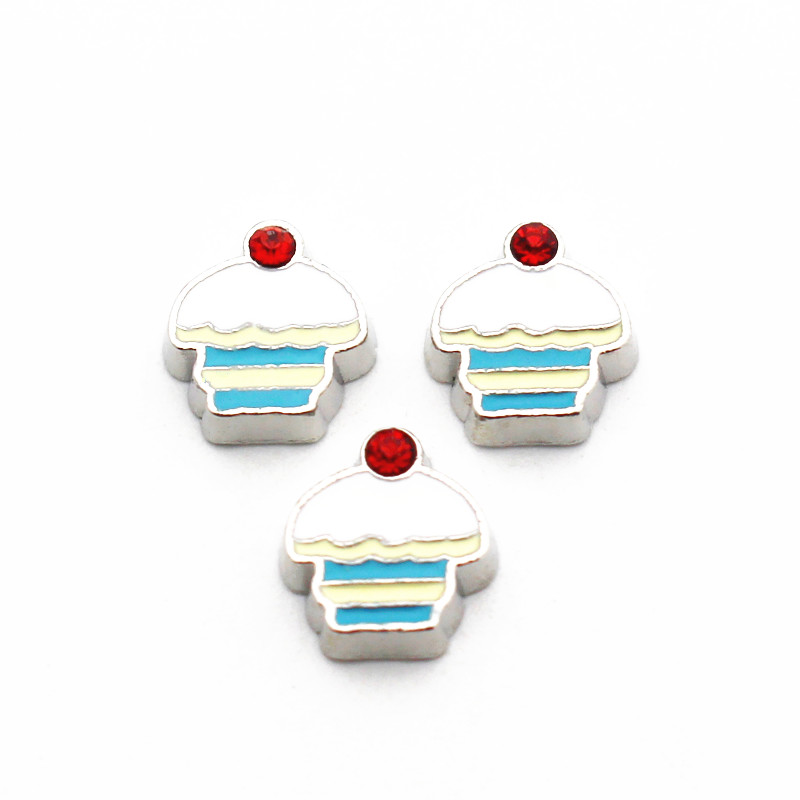 New Arrived 10pcs/lot Metal Enamel Ice Cream Crystal Floating Charms For Living Glass Memory Lockets Necklace DIY Jewelry