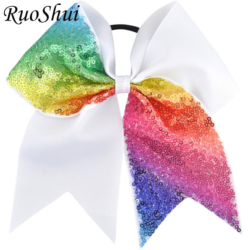 7 inch Large Sequin Cheer Bow Hair Bow Rainbow Elastic Hair Band Grosgrain Ribbon Children Girls Cheerleading Hair Accessories
