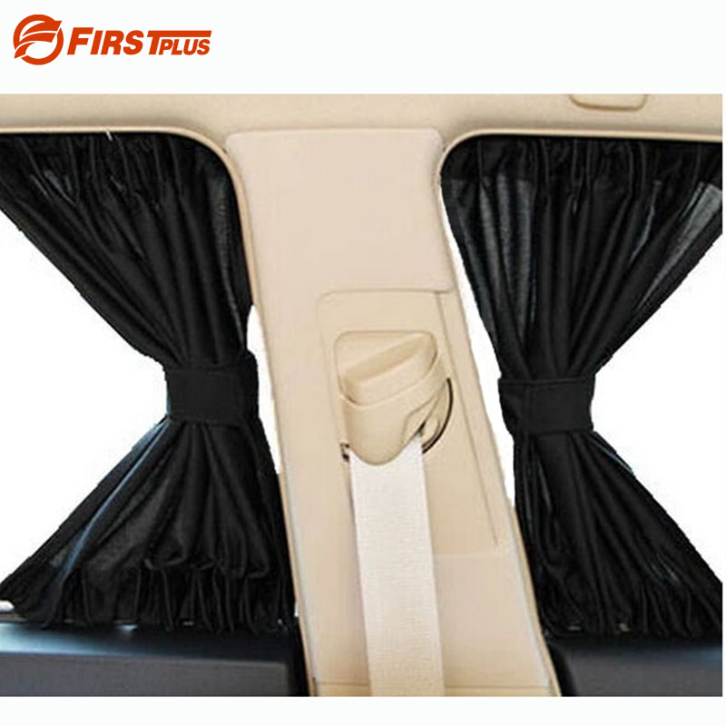 2 x Update 70S Aluminum Alloy Elastic Car Side Window Sunshade Curtains Auto Windows Sun Visor Blinds Cover - Black Beige Grey