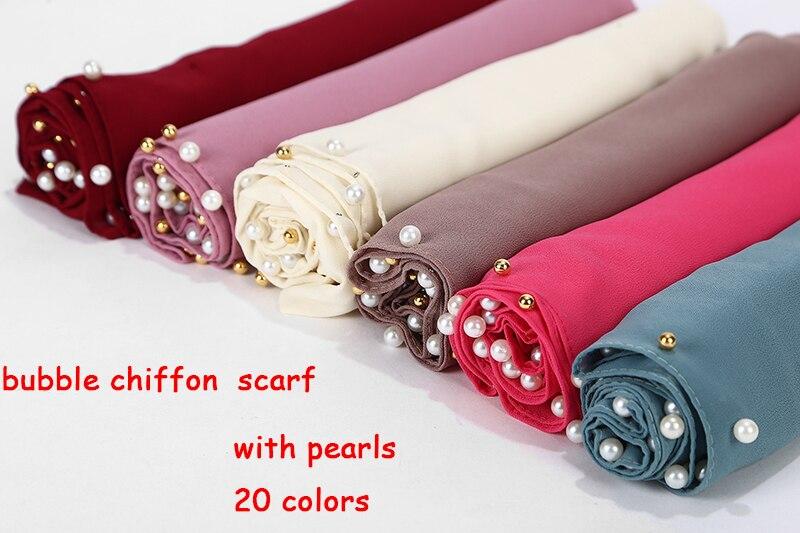 1pc Golded Beaded Pearl Scarf Big Solider Color Quality Bubble Chiffon Scarf Plain Shawls Hijab Muslim Scarf 20 Color 180*75cm