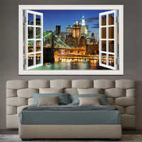 New York Brooklyn 3D Window View wall Sticker Removable Night Wall Art Wallpaper Kitchen kids Room wall Picture and prints