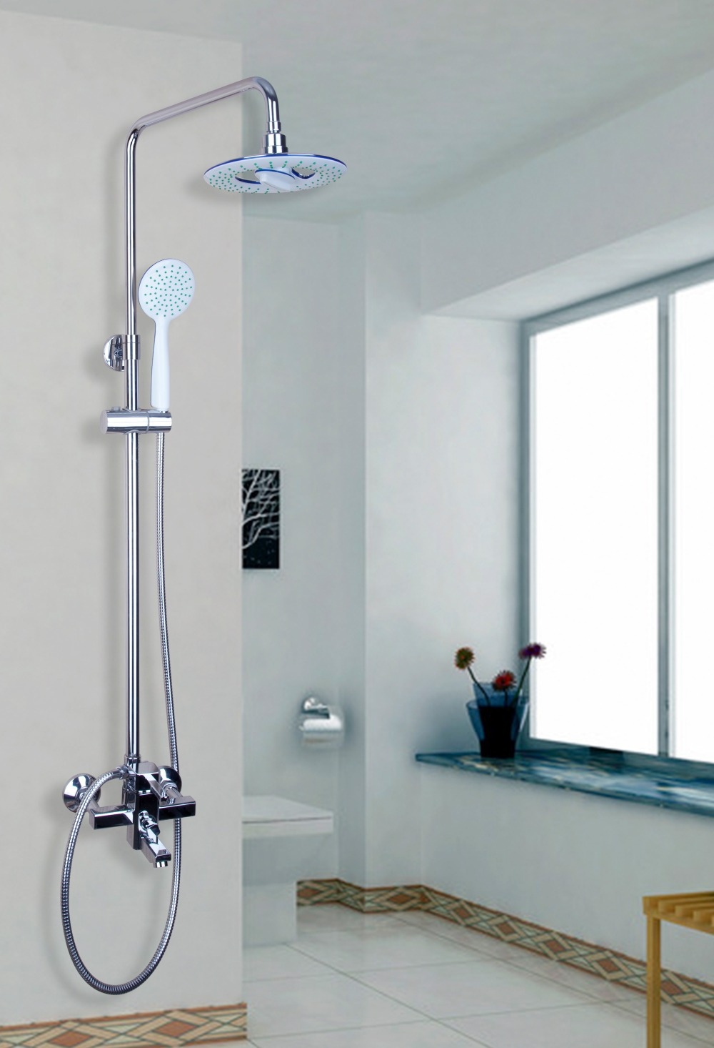 YANKSMART Bathroom 8 Inch Shower Head Rainfall Shower Faucet Wall ...
