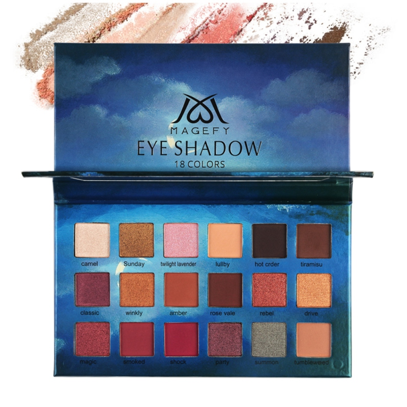 <font><b>18</b></font> Color Professional Shimmer Matte Makeup Eyeshadow Palette With Mirror Long Lasting Waterproof Eye Cosmetic Cloud Packaging image
