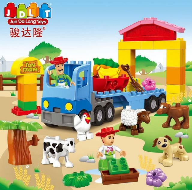 Free Shipping Funny Farm Building Block Mini Figure DIY Self-Locking Bricks Learn Education Best Tools For Kids Christmas Gift