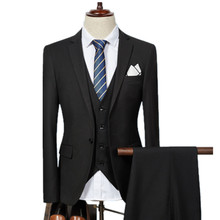 Jacket Pant Vest / 2017 Fashion Men Business Suits Three Piece Sets / Men's Wedding Dress Suit Blazers Coat Trousers Waistcoat