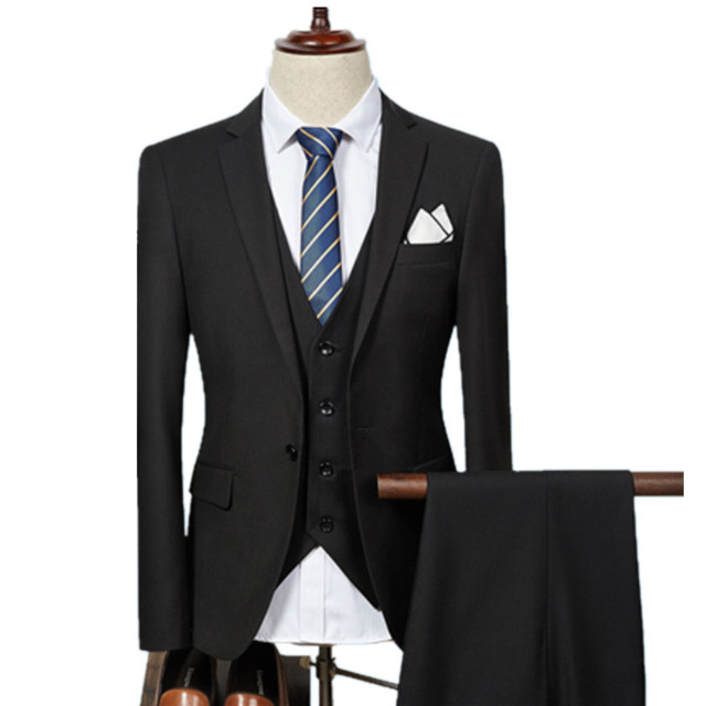 Jacket Pant Vest / 2018 Fashion Men Business Suits Three Piece Sets / Men's Wedding Dress Suit Blazers Coat Trousers Waistcoat
