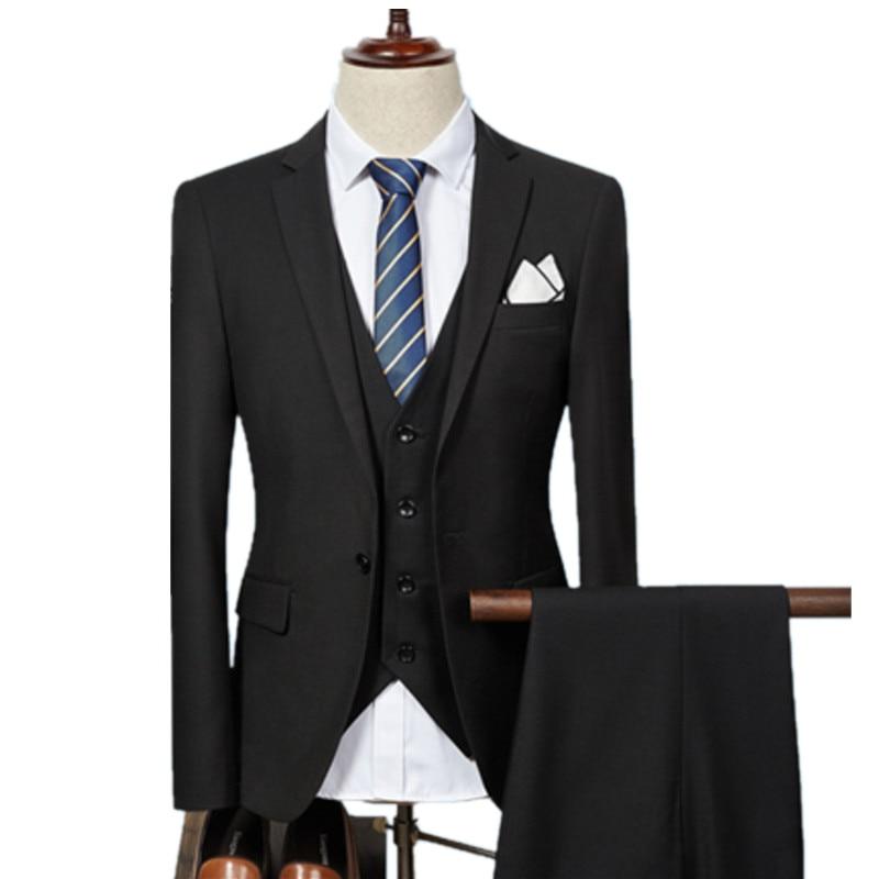 Jacket Pant Vest / 2019 Fashion Men Business Suits Three Piece Sets / Men's Wedding Dress Suit Blazers Coat Trousers Waistcoat