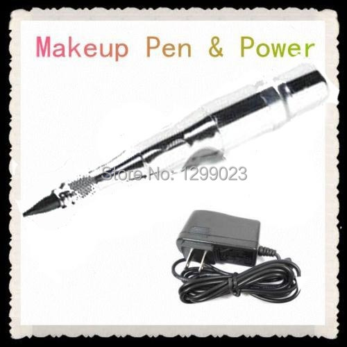 Wholesale - Permanent Silver Tattoo Makeup Eyebrow & Lip Pen/Machine + Fitted Adapter Cosmetic Kits Supply beautome 2016 permanent makeup pen tattoo eyebrow lips cosmetic machine kits needles tips ink permanent tattooing for adult red
