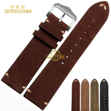 Genuine leather watchband watch strap 20 22mm woman men wristwatches band belts wristband handmade stitched   leather bracelet