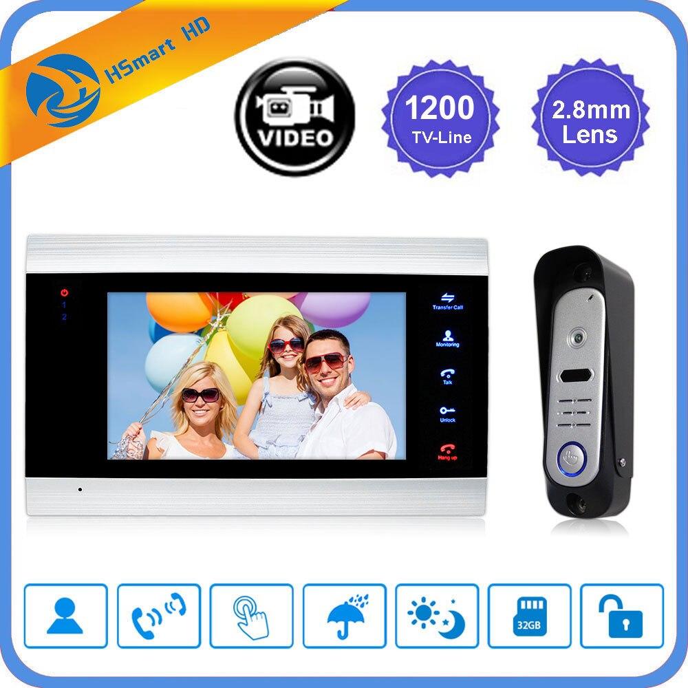 """7"""" LCD Video Door Phone Doorbell Intercom System 1200TVL High Resolution Release Unlock Video Record Door Bell Home Security Kit"""