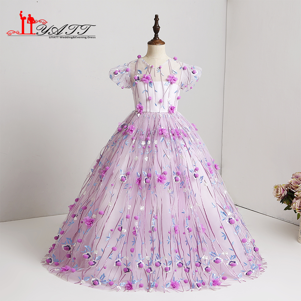 2018 lace elegant cute little flower girls dresses for wedding 2018 lace elegant cute little flower girls dresses for wedding purple 3d lace cheap children images dress kids custom made izmirmasajfo