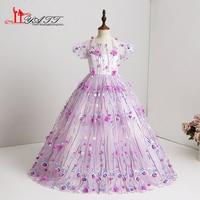 2018 Lace Elegant Cute Little Flower girls dresses for wedding Purple 3D Lace Cheap Children images Dress kids Custom Made
