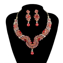 New india style bridal wedding Necklace earrings set  red color crystal rhinestone pearl material jewelry sets  free shipping