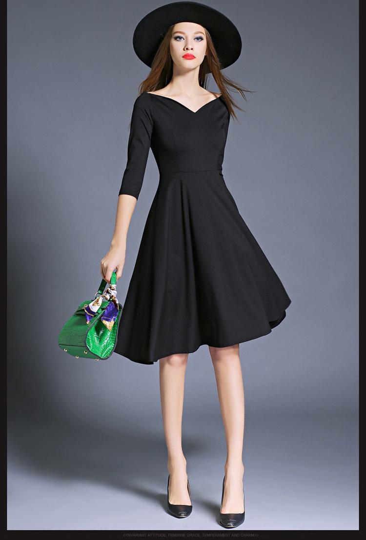 Hepburn Elegant Women Party Dresses Vestidos Mujer 2017 Kleider Damen Autumn Dashiki Little Black Dress Dames Jurken K8849 5