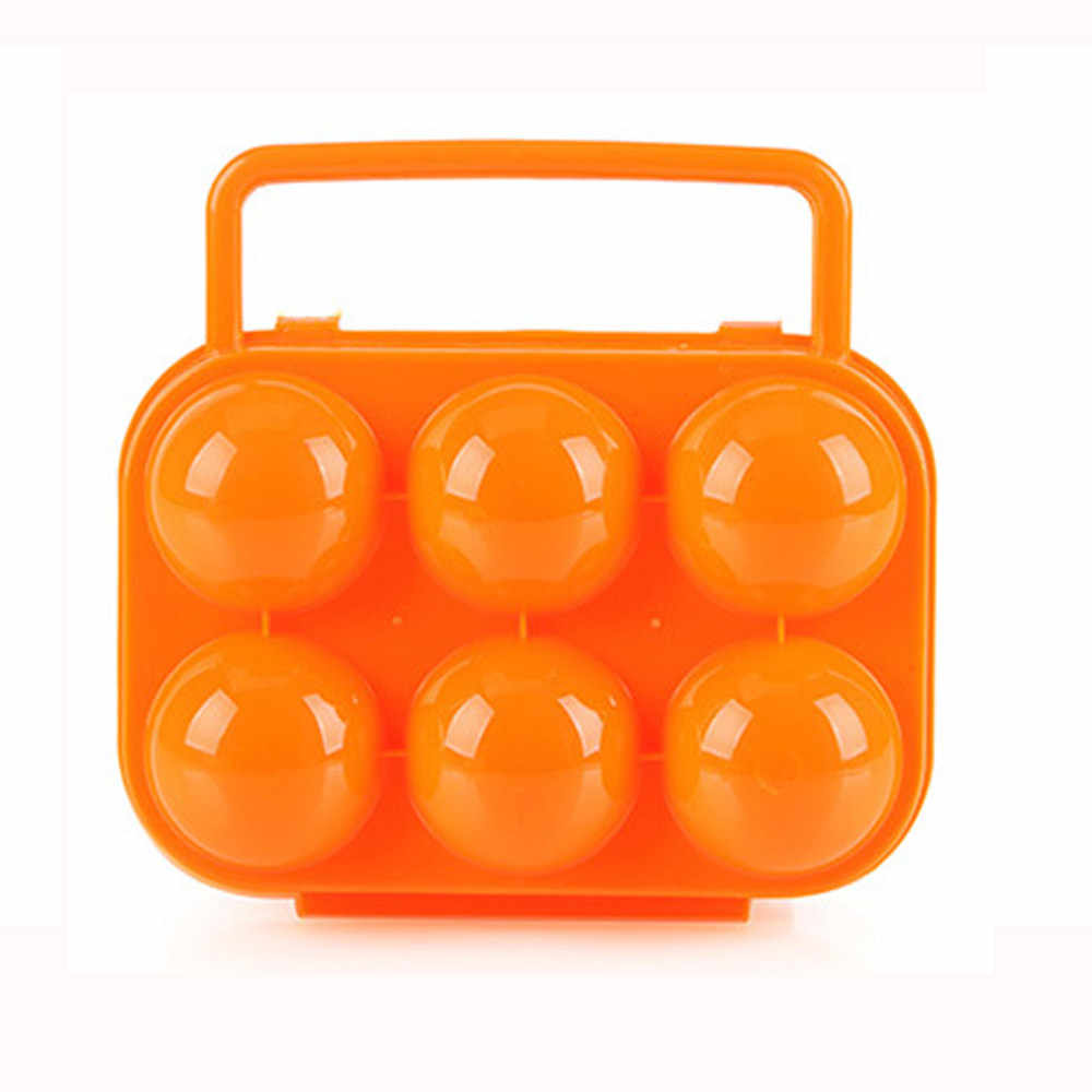 High Quality Portable 6 Eggs Plastic Container Holder Folding Egg Storage Box Handle Case  Kitchen Storage Container Organizer