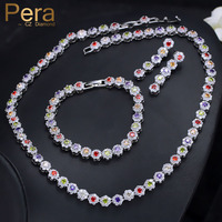 Pera Elegant Women 3 Piece Big Round Cubic Zirconia Multi Colored Choker Necklace Earrings And Bracelet