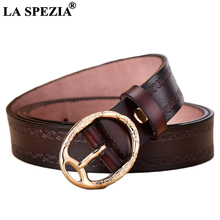 LA SPEZIA Real Leather Belt Women Coffee Waist Female Genuine Cow Embossed Pin Buckle Ladies Classic Belts 110cm