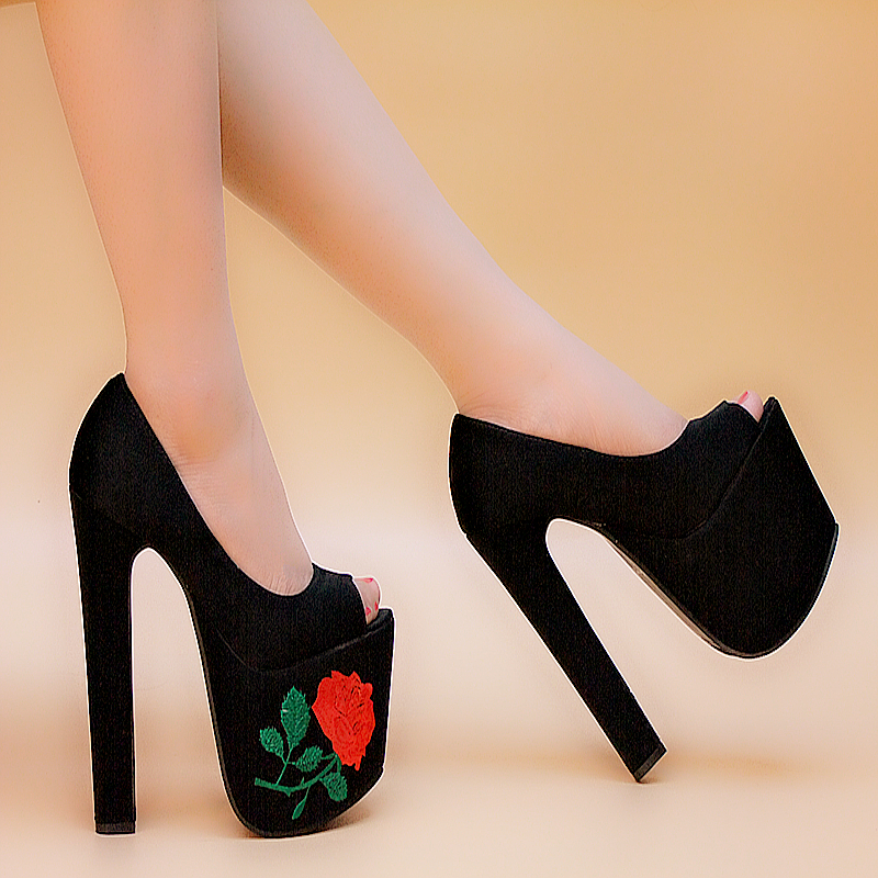 Ultra high heels sandals summer platform thick heel open toe high-heeled shoes fashion princess sexy women's shoes 17cm