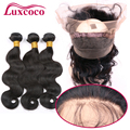 360 Lace Frontal With Bundle 7A Grade Brazilian Virgin Human Hair 2/3pcs Lace Frontal Closure With Bundles Body Wave Weave