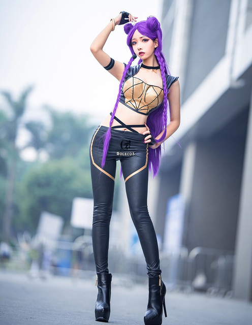 ROLECOS LOL KDA Cosplay Costume KDA Kaisa Cosplay Costume Game Kaisa Outfit Fullsets K/DA Group LOL Character Cos with Gloves 2