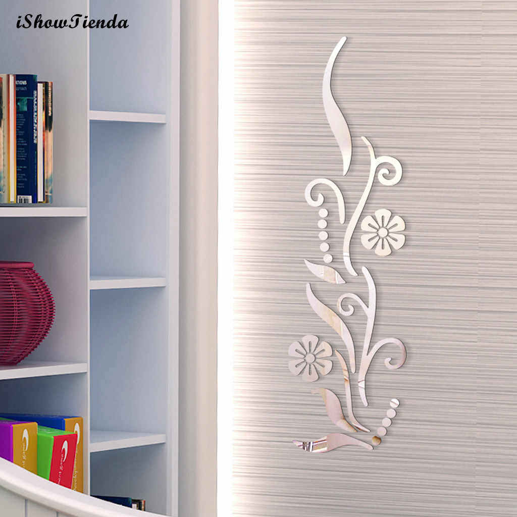 Flower Bathroom Acrylic Mirrored Decorative Sticker Wall Art Mirror Secor Room Stickers Muraux Wall Decor Mirror Wall Stickers