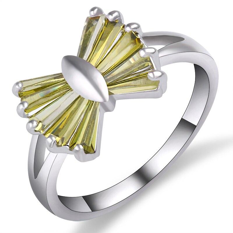 Elegant Butterfly Shape Green Zircon Rings For Women Girl White Gold Filled Wedding Party Engagement Promise Ring Bijoux Anel