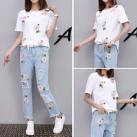 2017 Summer Women Two Piece Outfits Casual New Women Printing Flower White T Shirt Denim Pant