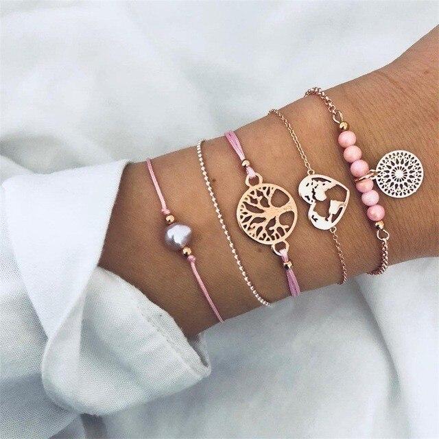 2019 Boho Charm Bracelets & Bangles Set Bohemian Vintage Beaded Multilayer Bracelets For Women Fashion Jewelry Wrap Accessories 1