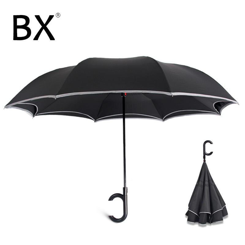 Double Layer Inverted Inverted Umbrella Is Light And Sturdy Natural Ornament Reverse Umbrella And Windproof Umbrella Edge Night Reflection