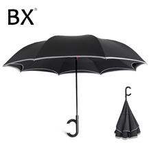 Bachon reverse reflective windproof umbrella large double-layer auto close inverted female male car