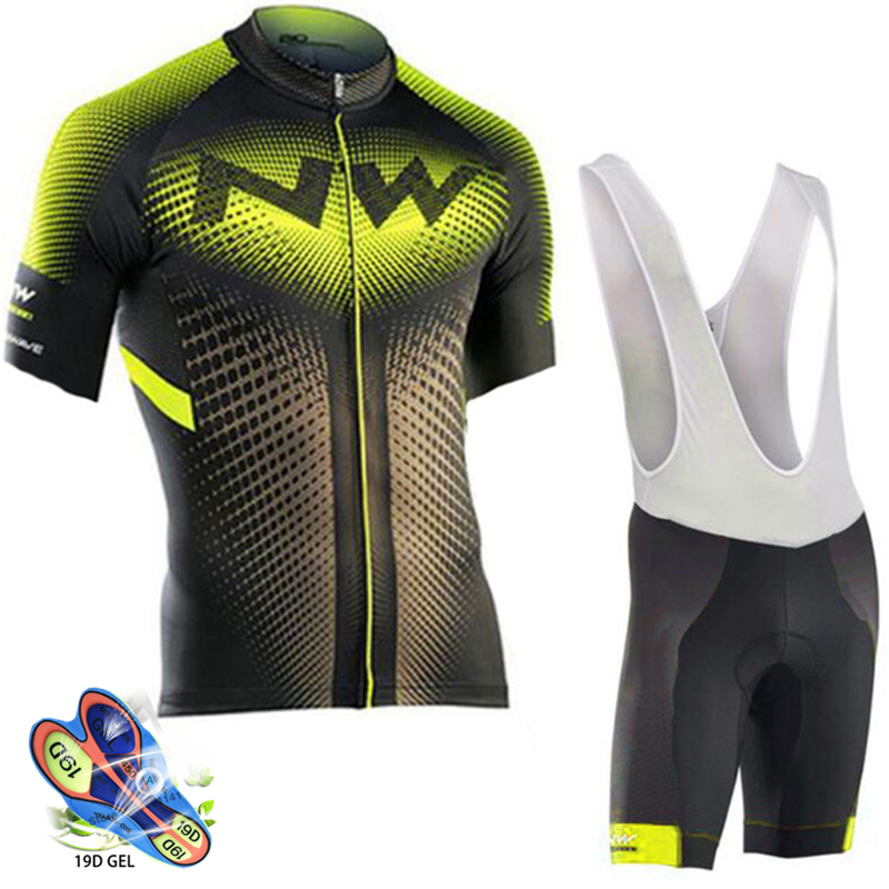 Cycling set Yellow and black jersey and black and white pants