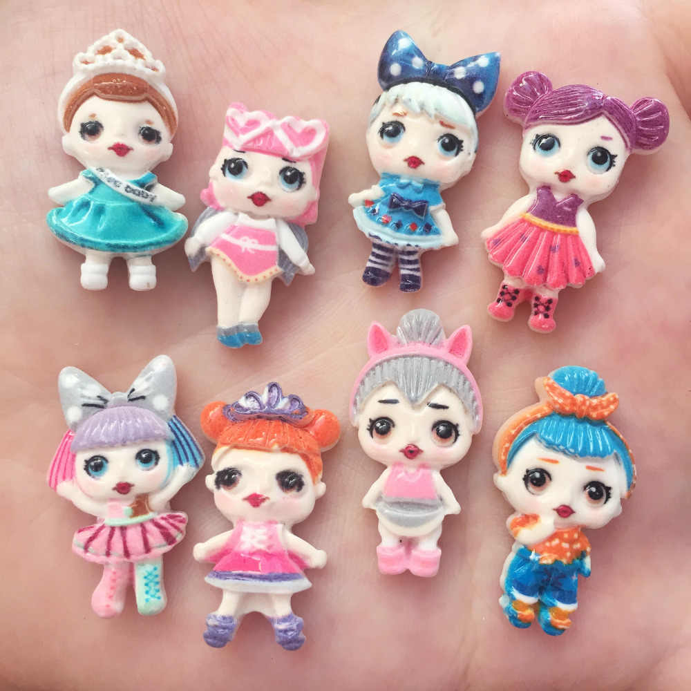 16pcs resin Lovely 3D Colorful cute doll girl Flat back stone appliques DIY Wedding scrapbook craft OW63