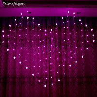 Window Curtain String Lights Heart Shaped Romantic String Fairy Lights For Christmas Wedding Party Home Wall