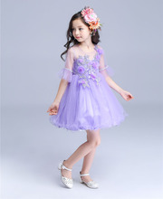 Wedding Flower Girls Princess Dresses 2016 Summer New Purple Half Flare Sleeve Prom Ball Gowns Dress Kids Party Frocks vestidos