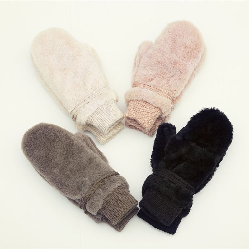 Fashion Solid Winter Gloves Women Warm Dehair Angora Inside Coral Fleece Thick Mittens For Women Female Hanging Rope Gants Femme