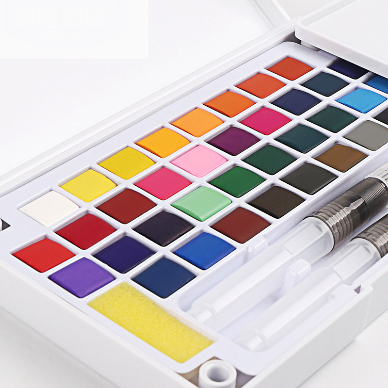 12/18/24/36 Colors Portable Travel Solid Pigment Watercolor Paints Set With Water Color Brush Pen For Painting Art Supplies image